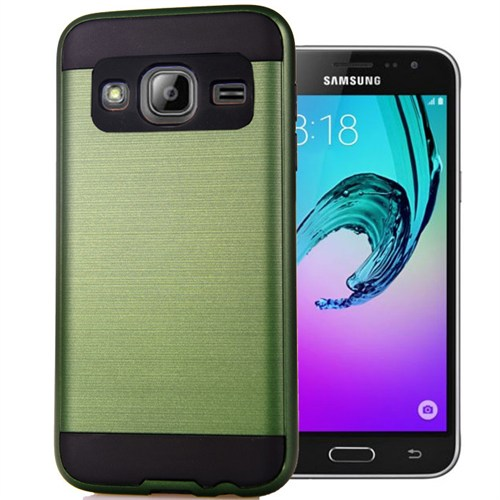 Coverzone Samsung Galaxy J3 Kılıf Antişok Darbe Koruma Sert + Kırılmaz Cam Yeşil