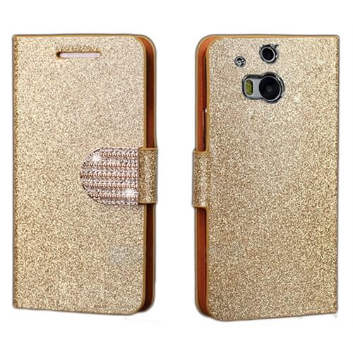 Coverzone Htc One M8 Kılıf Simli Taşlı Kapaklı Altın