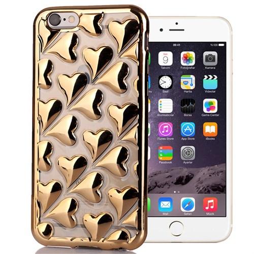 Coverzone Apple İphone 6/6S Kılıf Silikon 3D Kabartma Kalp + Kırılmaz Cam