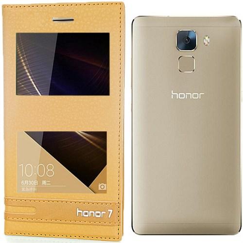Coverzone Huawei Honor 7 Kılıf Çift Pencereli Elite + Kırılmaz Cam