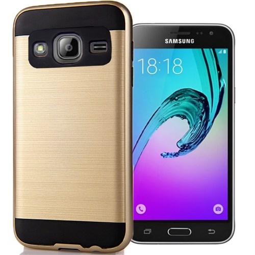 Coverzone Samsung Galaxy J1 216 Kılıf Antişok Darbe Koruma Sert + Kırılmaz Cam Gold