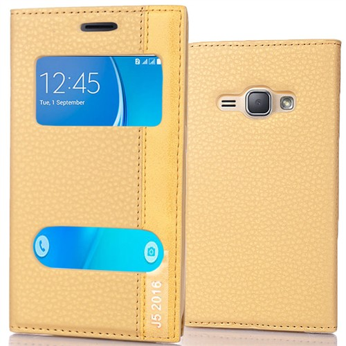 Coverzone Samsung Galaxy J5 216 Kılıf Çift Pencereli Deri + Kırılmaz Cam Gold