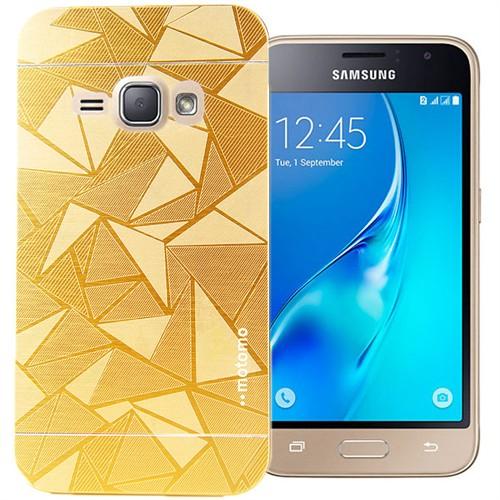 Coverzone Samsung Galaxy J1 216 Kılıf Motomo Prizma + Kırılmaz Cam Gold