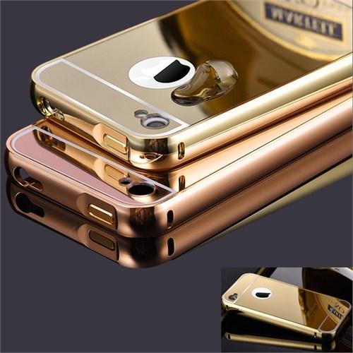 Coverzone Apple iPhone 4 4S Kılıf Aynalı Bumper Gold