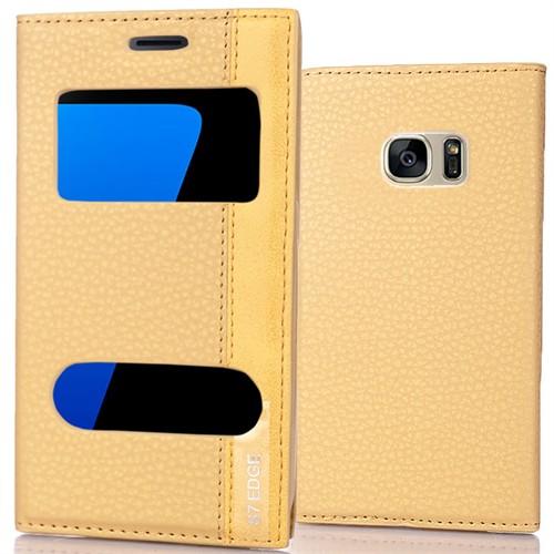 Coverzone Samsung Galaxy S7 Edge Kılıf Çift Pencereli Deri + Kavisli Jelatin Gold