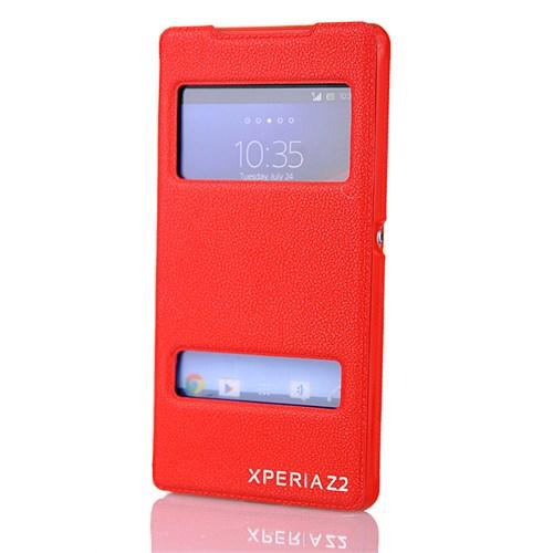 Coverzone Sony Xperia Z2 Kılıf Vantuzlu Pencereli