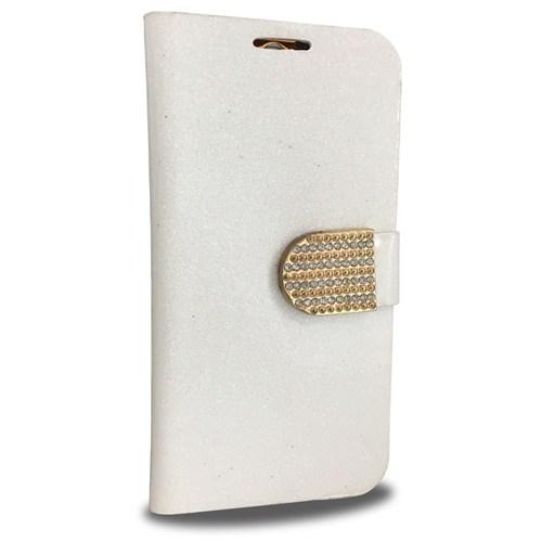 Coverzone Htc One M8 Kılıf Simli Taşlı Kapaklı Beyaz