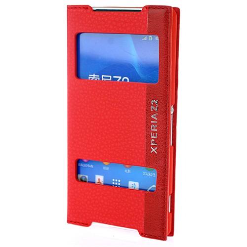 Coverzone Sony Xperia Z2 Kılıf Çift Pencereli Magnum