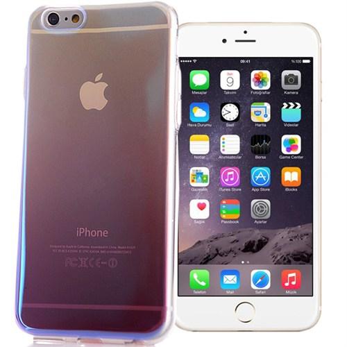 Coverzone Apple İphone 6/6S Kılıf Silikon Gökkuşağı Deseni + Kırılmaz Cam