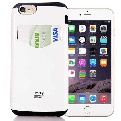 Coverzone Apple iPhone 6 Kılıf Mercury Kartvizit Bölmeli Sert + Kırılmaz Cam