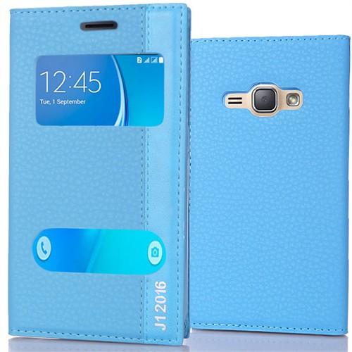 Coverzone Samsung Galaxy J1 216 Kılıf Çift Pencereli Deri + Kırılmaz Cam Mavi
