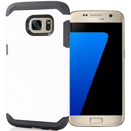 Coverzone Samsung Galaxy S7 Kılıf Slim Sert Koruma + Kırılmaz Cam Beyaz