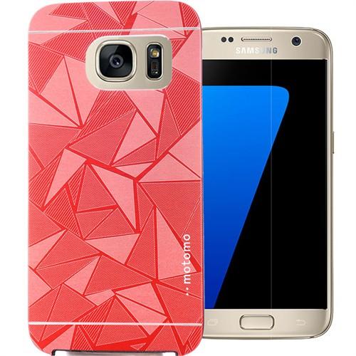 Coverzone Samsung Galaxy S7 Kılıf Motomo Prizma + Kırılmaz Cam Kırmızı