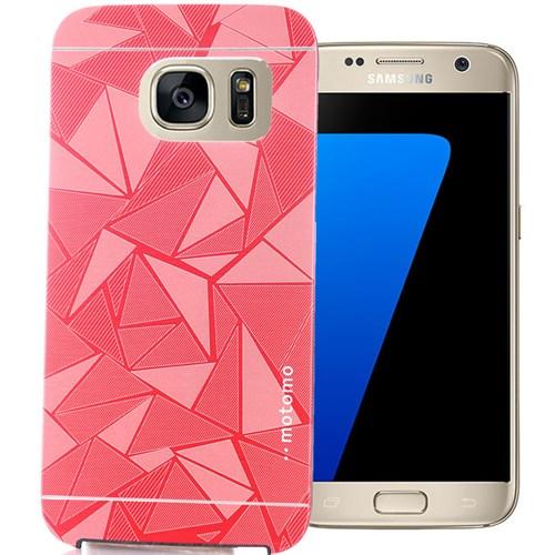 Coverzone Samsung Galaxy S7 Kılıf Motomo Prizma + Kırılmaz Cam Pembe