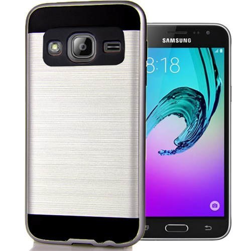 Coverzone Samsung Galaxy J3 Kılıf Antişok Darbe Koruma Sert + Kırılmaz Cam Gümüş