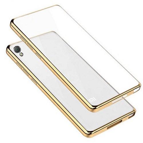 Coverzone Sony Xperia Z3 Kılıf Silikon Parlak Çerçeve Altın