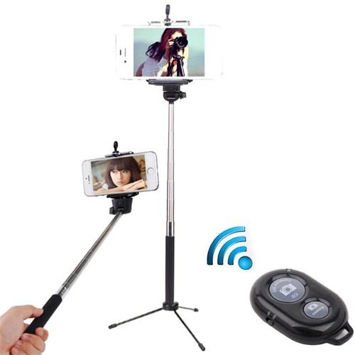 Coverzone İphone 5 5S Se 6 6 Plus Tripod Selfie Çubuğu 3 Ayak Stand + Kumanda 2İn1