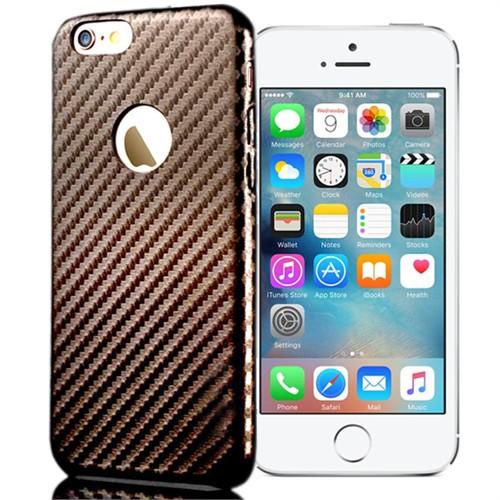 Coverzone Apple iPhone 5S Karbon Kapak + Kırılmaz Cam Kahverengi