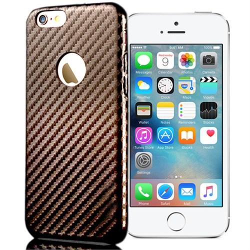 Coverzone Apple iPhone 5Se Karbon Kapak + Kırılmaz Cam Kahverengi