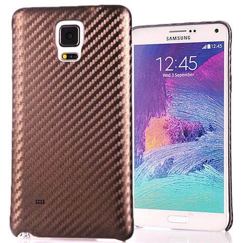Coverzone Samsung Galaxy Note 4 Kılıf Karbon Kapak + Kırılmaz Cam Kahverengi