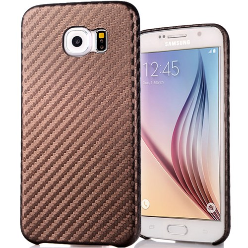 Coverzone Samsung Galaxy S6 Kılıf Karbon Kapak + Kırılmaz Cam Kahverengi