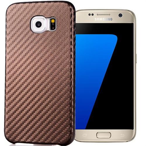 Coverzone Samsung Galaxy S7 Kılıf Karbon Kapak + Kırılmaz Cam Kahverengi