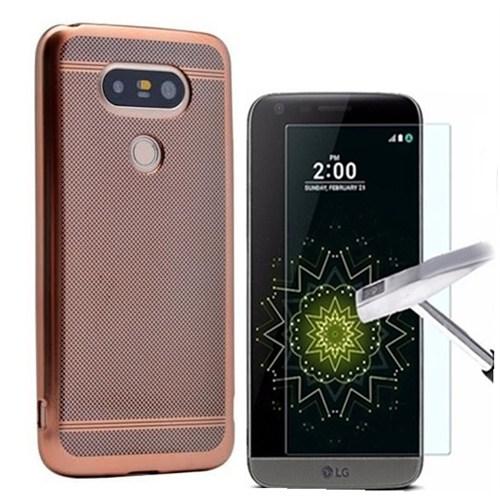 Kılıfshop Lg G5 Strom Silikon Kılıf (Rose Gold) + Kırılmaz Cam Ekran Koruyucu