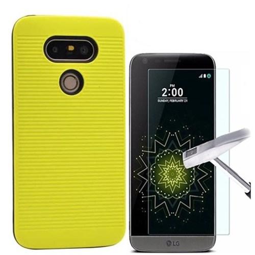 Kılıfshop Lg G5 Youyou Silikon Kılıf (Sarı) + Kırılmaz Cam Ekran Koruyucu