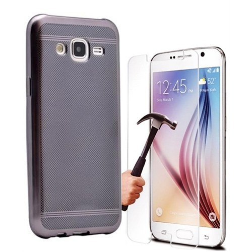Kılıfshop Samsung Galaxy J5 Strom Silikon Kılıf (Siyah) + Kırılmaz Cam Ekran Koruyucu
