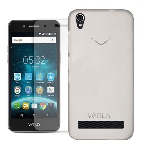 Kılıfshop Vestel V3 5020 Silikon Kılıf (Şeffaf) + Kırılmaz Cam Ekran Koruyucu