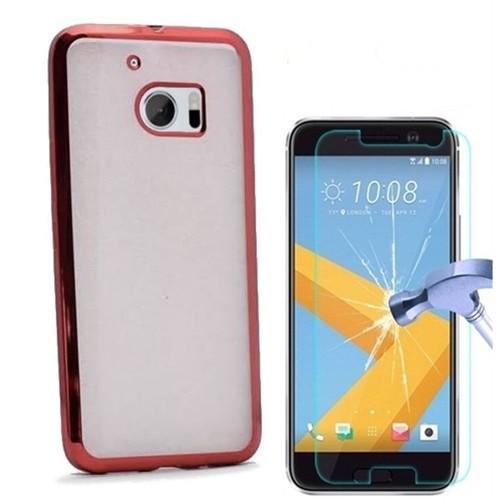 Kılıfshop Htc 10 Lazer Silikon Kılıf (Kırmızı) + Kırılmaz Cam Ekran Koruyucu