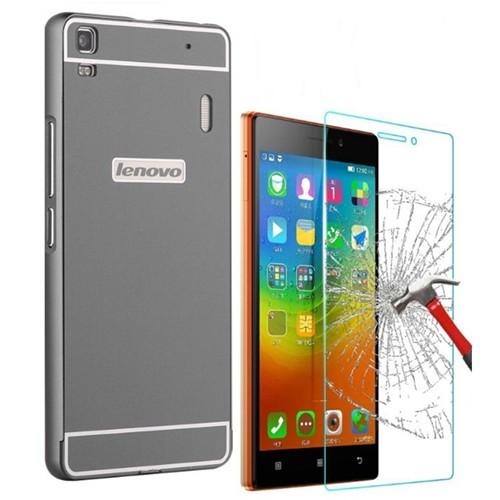 Kılıfshop Lenovo K3 Note A7000 Lüks Aynalı Bumper Kılıf (Siyah) + Kırılmaz Cam Ekran Koruyucu