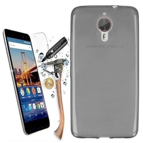 Kılıfshop General Mobile Gm5 Plus 0.2Mm Silikon Kılıf (Füme) + Kırılmaz Cam Ekran Koruyucu