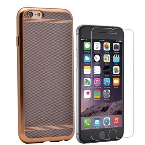Kılıfshop Apple İphone 6 Plus Strom Silikon Kılıf (Gold) + Kırılmaz Cam Ekran Koruyucu