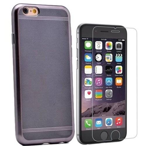Kılıfshop Apple İphone 6 Strom Silikon Kılıf (Siyah) + Kırılmaz Cam Ekran Koruyucu