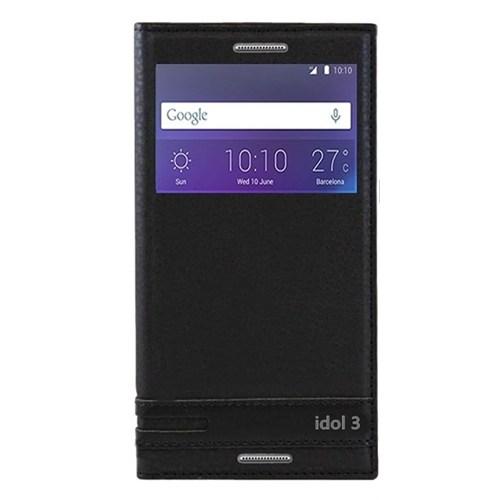 Kılıfshop Alcatel One Touch 3 5.5'' Pencereli Kılıf (Siyah)