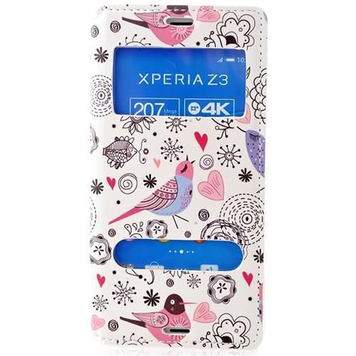 Coverzone Sony Xperia Z3 Kılıf Çift Pencereli Kapaklı Kuşlar