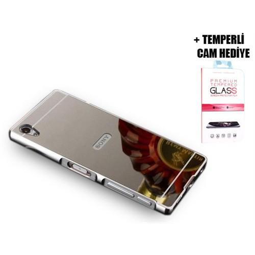 Coverzone Sony Xperia Z5 Premium Aynalı Kapak + Temperli Cam