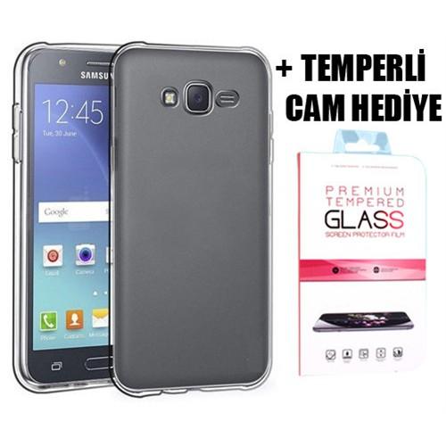 Coverzone Samsung Galaxy J7 Silikon Kılıf + Temperli Cam