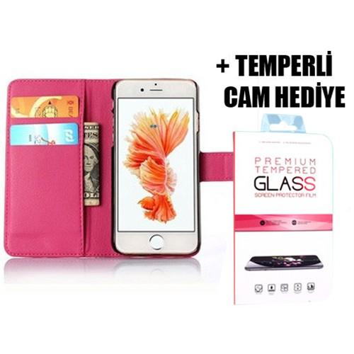 Coverzone İphone 6S Plus Cüzdanlı Standlı Kılıf + Temperli Cam
