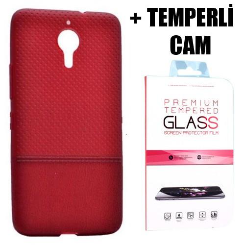 Coverzone General Mobile Gm 5 Plus Benekli Silikon Kılıf + Temperli Cam