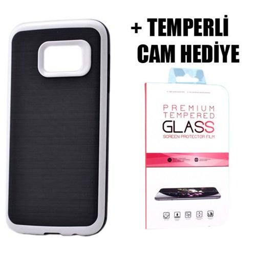 Coverzone Samsung Galaxy S7 Ultra Korumalı Silikon Kılıf + Temperli Cam