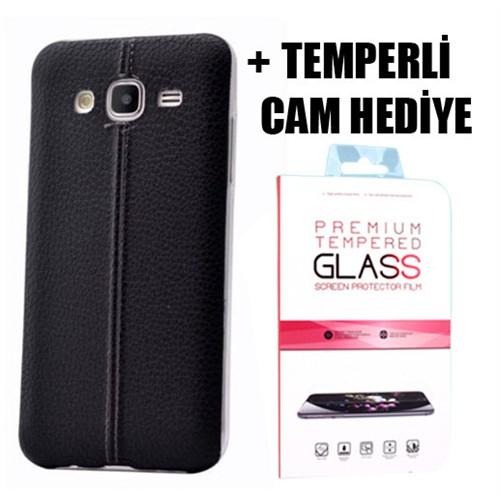 Coverzone Samsung Galaxy J5 Dikişli Silikon Kılıf + Temperli Cam