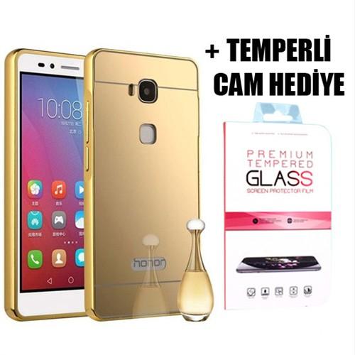 Coverzone Huawei Gr5 Aynalı Kılıf Kapak + Temperli Cam