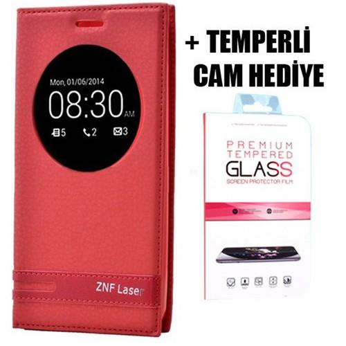 Coverzone Asus Zenfone 2 Laser 5.5 İnç Uyku Modlu Pencereli Kılıf + Temperli Cam