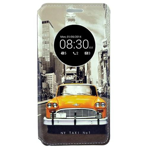 Coverzone Asus Zenfone 5 Lite Kılıf Resimli Kapaklı Pencereli New York Taksi + Temperli Cam