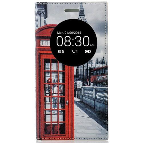 Coverzone Asus Zenfone 5 Lite Kılıf Resimli Kapaklı Pencereli Londra Telefon Kulübesi + Temperli Cam