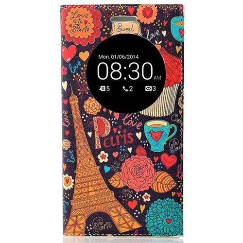 Coverzone Asus Zenfone 5 Lite Kılıf Resimli Kapaklı Pencereli Paris Eyfel Kulesi + Temperli Cam