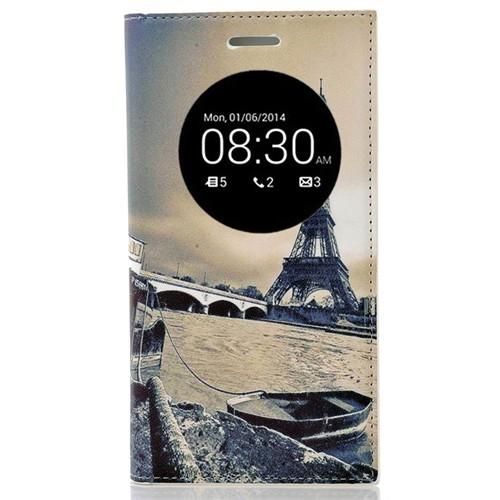 Coverzone Asus Zenfone 5 Lite Kılıf Resimli Kapaklı Pencereli Eyfel Kulesi Manzara + Temperli Cam