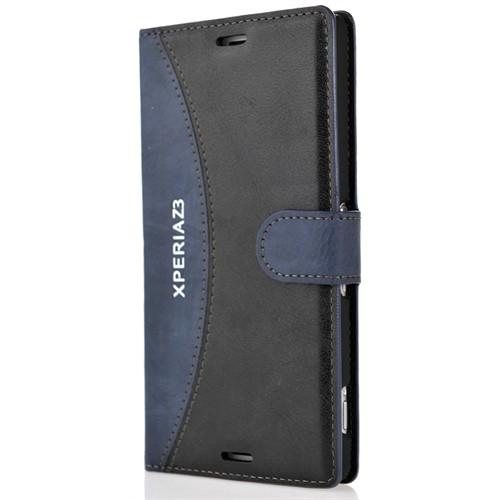Coverzone Sony Xperia Z3 Kılıf Kapaklı Cüzdan Model + Temperli Cam